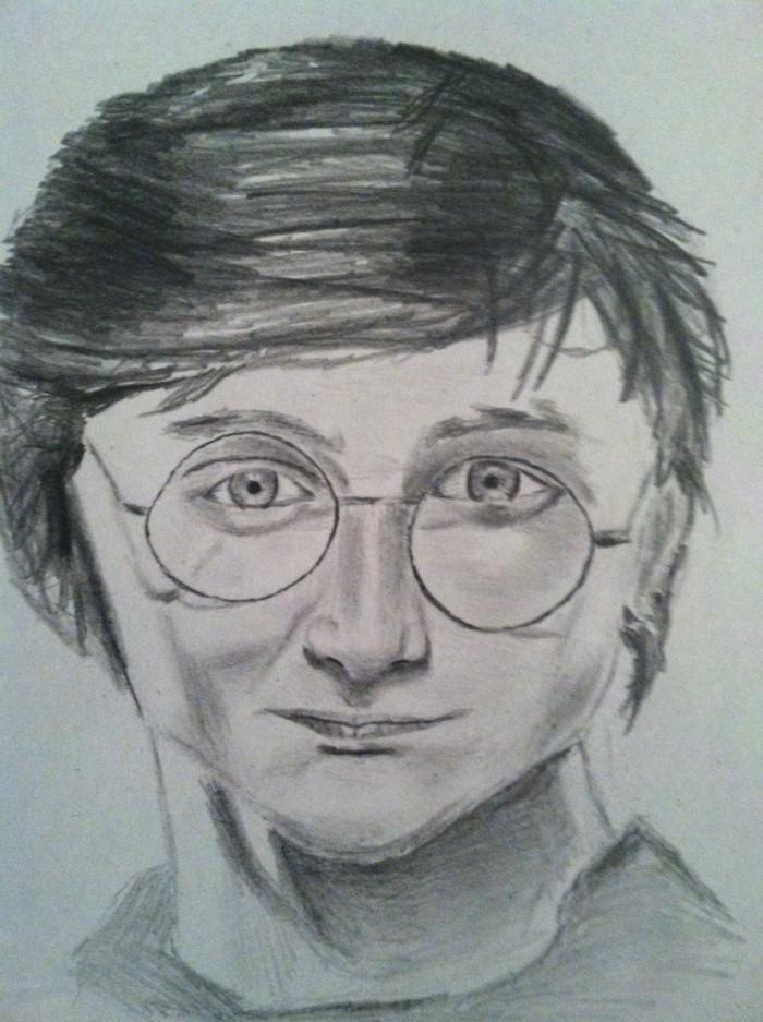 dibujos divertidos y fáciles de hacer para principiantes, dibujo Harry Potter, dibujos bonitos a lapiz