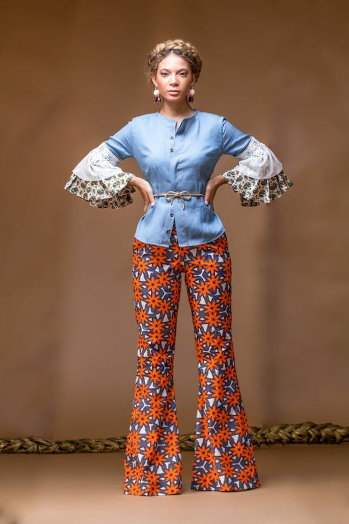 camisas africanas y pantalones, colorido atuendo con pantalón de diseño con motivos florales