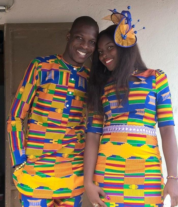 diseño de ropa que se parece al traje tipico africano, prendas coloridas para parejas en imagines