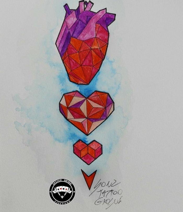 dibujos de tatuajes con corazones simbólicos, preciosos diseños de tatuajes corazon para hombres y mujeres