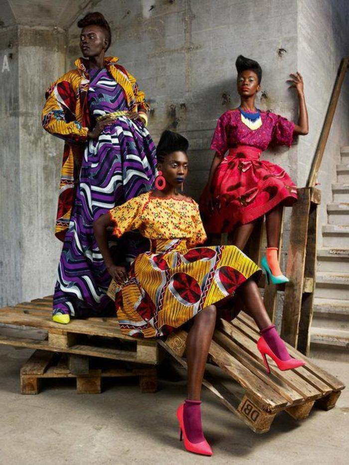 fotos de vestidos africanos para mujeres super coloridos, vestidos de corte original, tapones altos