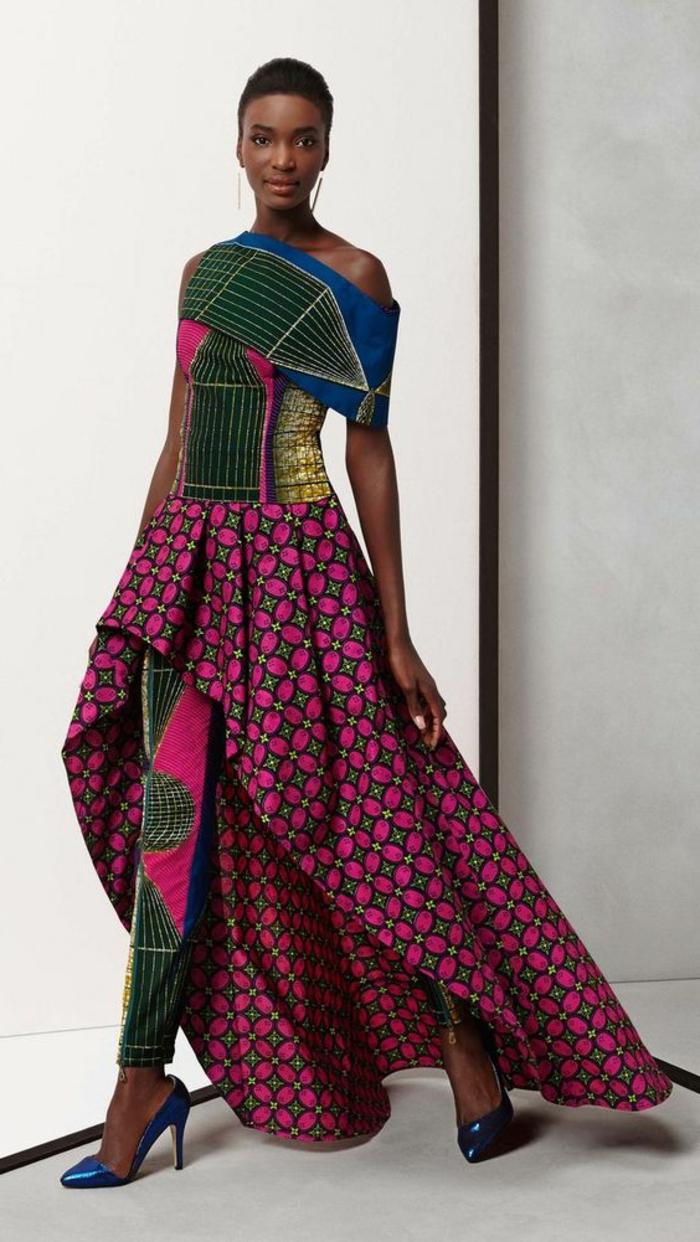 vestido elegante y extravagante con estampados étnicos, diseños de vestidos africanos