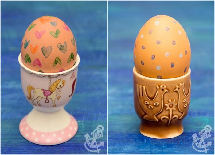 divertidas propuestas de huevos de Pascua decorados, huevos pintados con lapices de colores