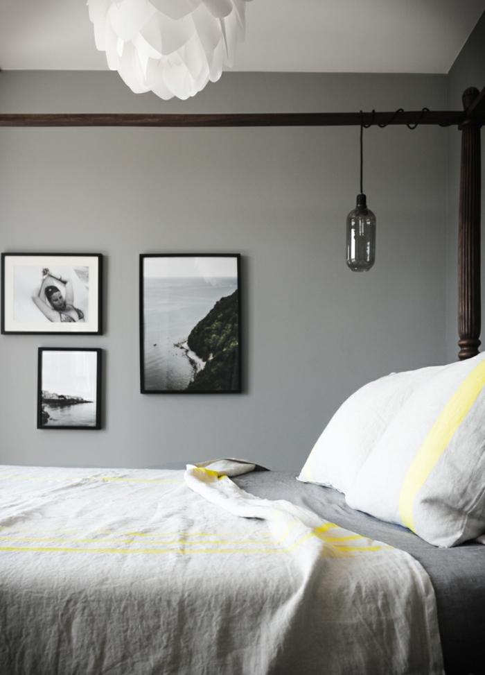 camas matrimonio, ideas de decoración de habitaciones, paredes grises con cuadros fotografias blanco y negro