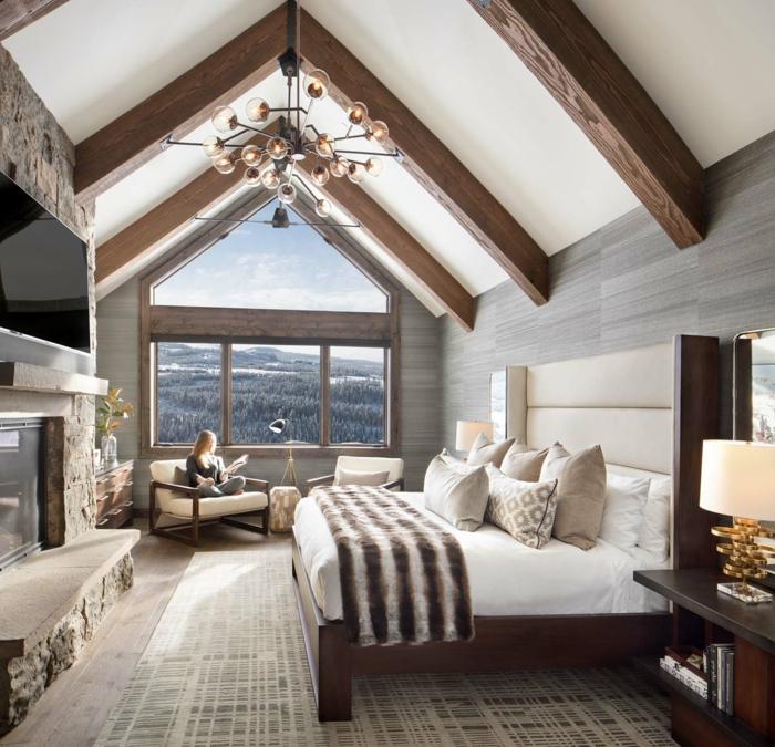 las mejores propuestas de diseño de habitaciones doblres, camas matrimonio con cabecero, techo inclinado con vigas