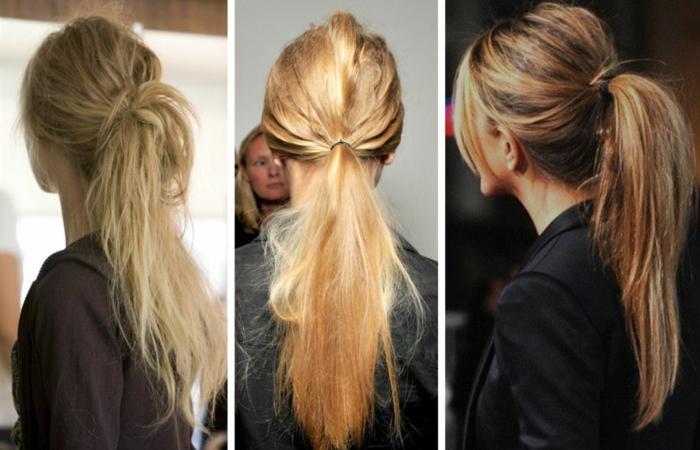 tres coletas bonitas para un look despeinado, peinados faciles pelo largo en estilo casual