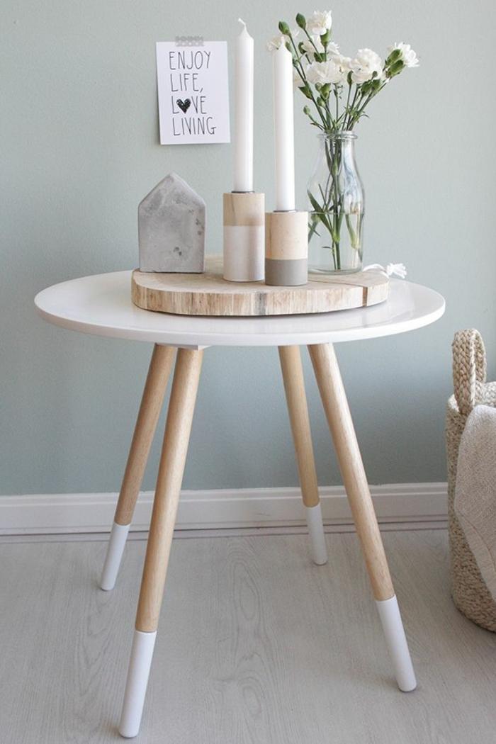decoración en estilo escandinavo, que poner encima de una mesa de comedor para decorar la casa