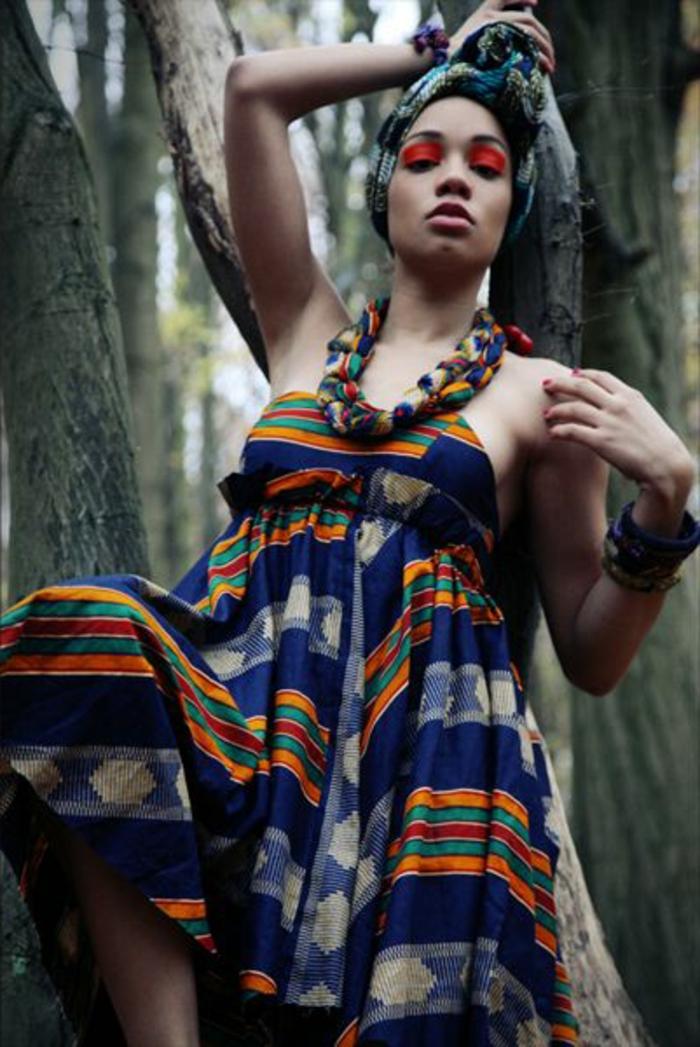 vestidos africanos modernos y bonitos en colores llamativos, diseño de vestido sin mangas