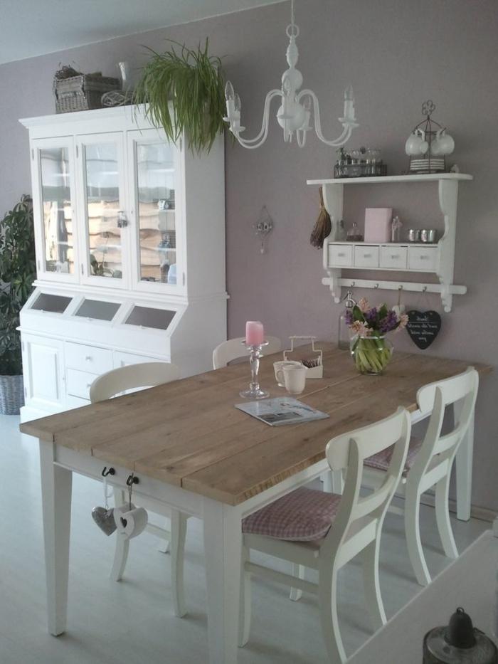 ideas para decorar la mesa, salón comedor en estilo vintage, paredes en gris y muebles en blanco