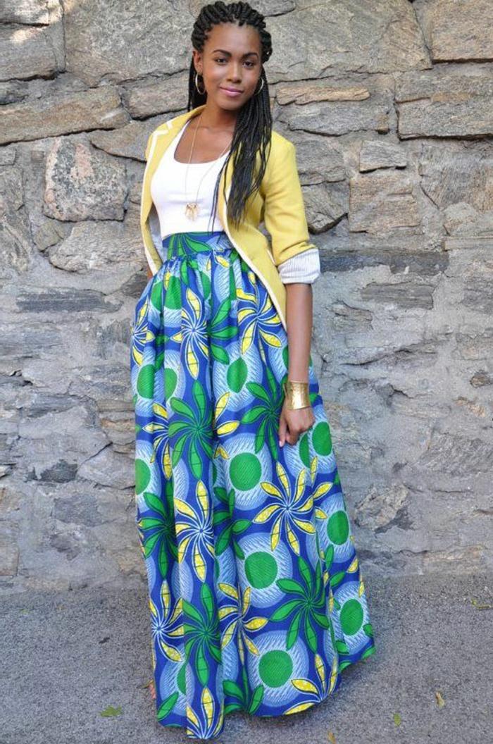 preciosos diseños de faldas africanas, atuendo africanos originales y bonitos, larga falda con estampados coloridos