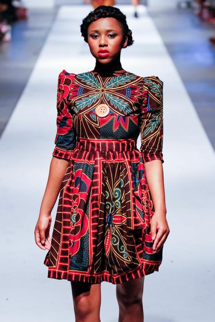 elegante vestido con print floral en colores bonitos, más de 70 imagines de vestidos africanos mujer