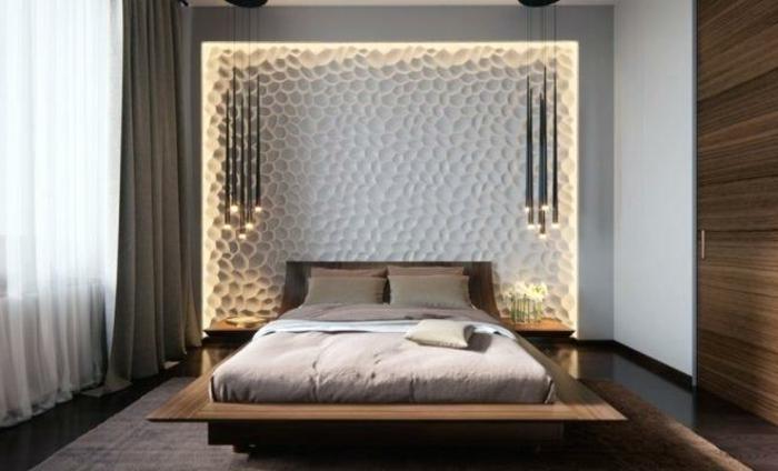 cabeceros cama matrimonio originales en bonitas imagines, decoración habitación en blanco y gris con luces empotradas