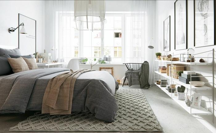 cómo decorar un dormitorio en colores claros, cama doble, decoración con muchos detalles decorativos y pinturas en la pared