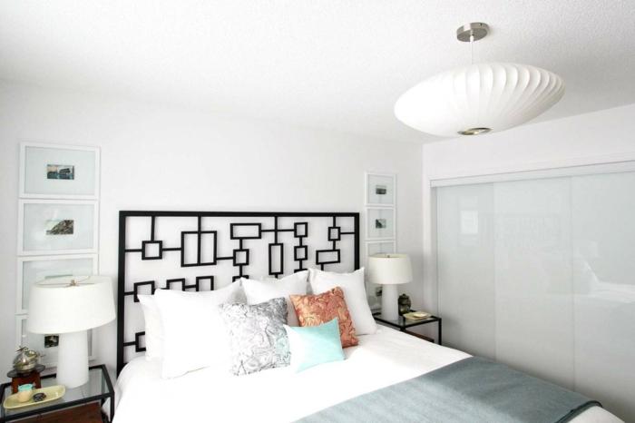 cómo decorar una habitación doble moderna, cabeceros cama matrimonio originales en fotos