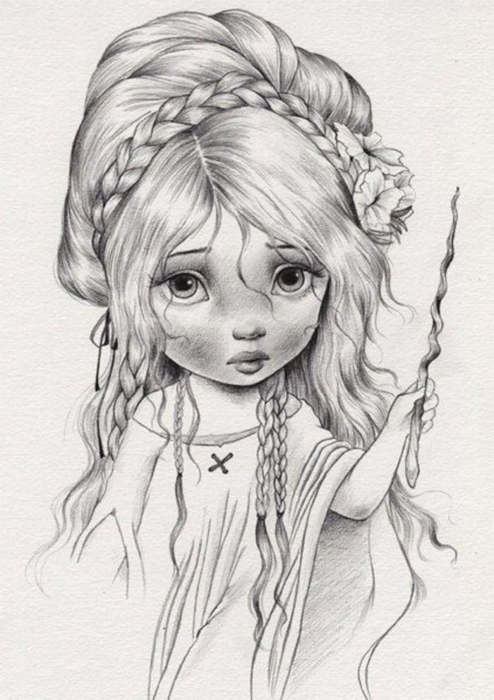 las mejores ideas de dibujos bonitos a lapiz con sombreado, pequeña hada dibujo a lápiz