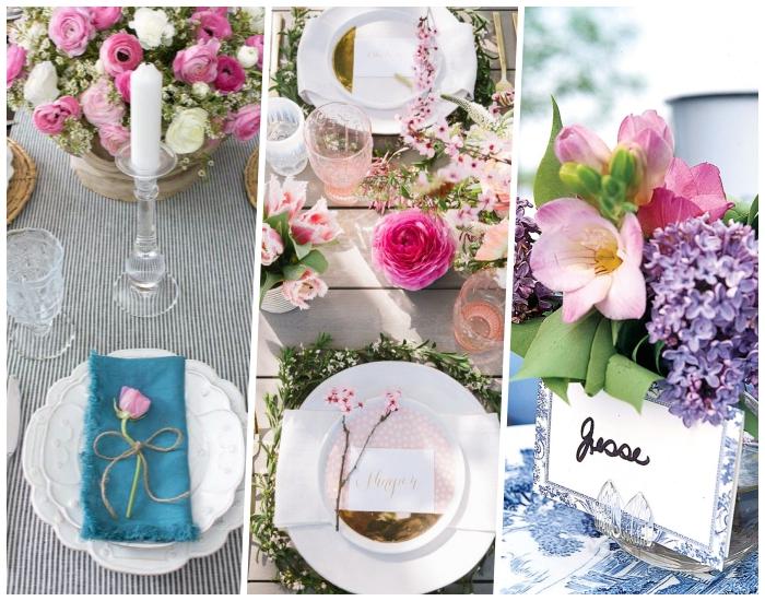 tres ideas sobre cómo decorar la mesa en primavera, decoración con flores y velas, centros de mesa DIY