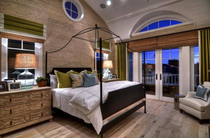 originales propuestas de muebles para un dormitorio matrimonio, cama marco original, muebles y suelo de madera