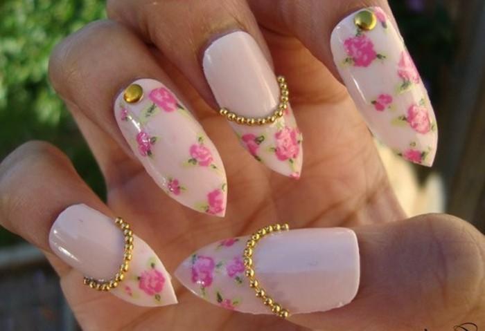 uñas acrilicas decoradas 2017, modelos de uñas bonitos y femeninos, uñas larga en rosado con motivos florales