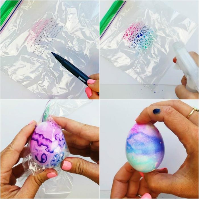 propuestas originales de decoracion casera de huevos de Pascua, técnicas con marcadores de colores