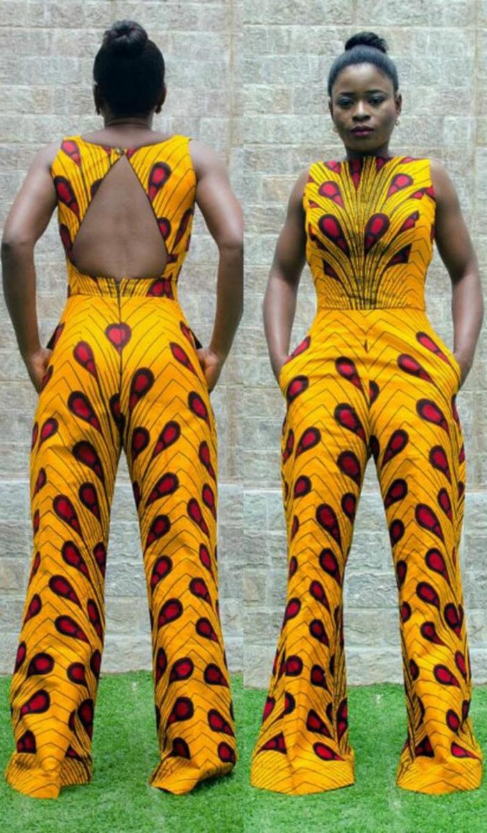 vestidos africanos mujer y monos, mono elegante en amarillo y rojo con estampados bonitos