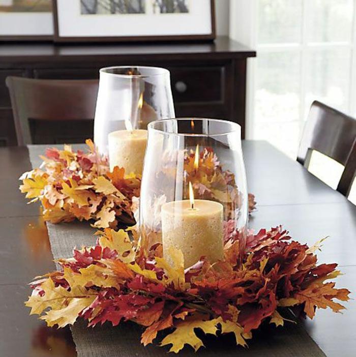 centro de mesa para el otoño, decoración con hojas caídas, originales ideas de decoración de espacios