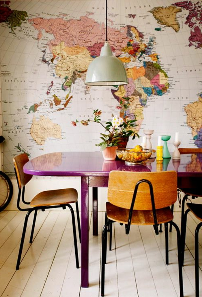 originales ideas de decoración de mesa en todos los estilos decorativos, mesa pintada en color morado
