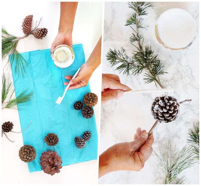 adorables ideas de decoracion de mesa navideña, piñas con puntas pintadas en blanco, decoración DIY