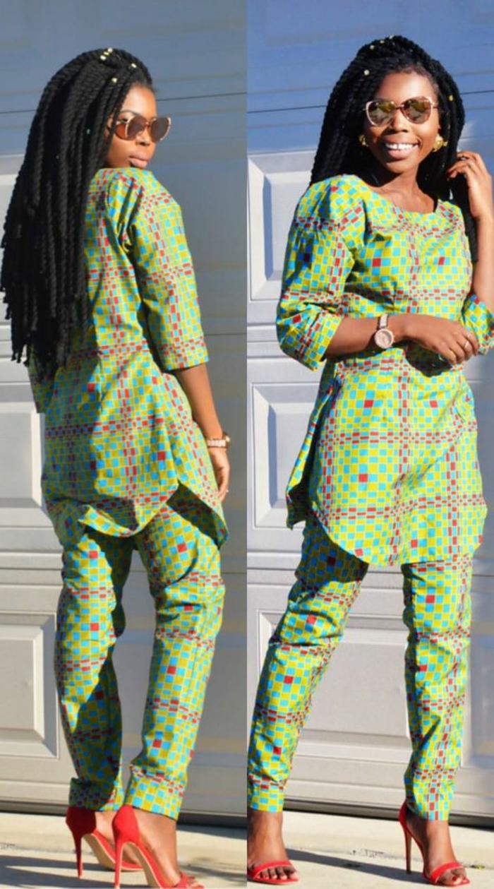 traje tipico africano para mujer en color verde con estampados geométricos, ropa moderna inspirada en la cultura africana