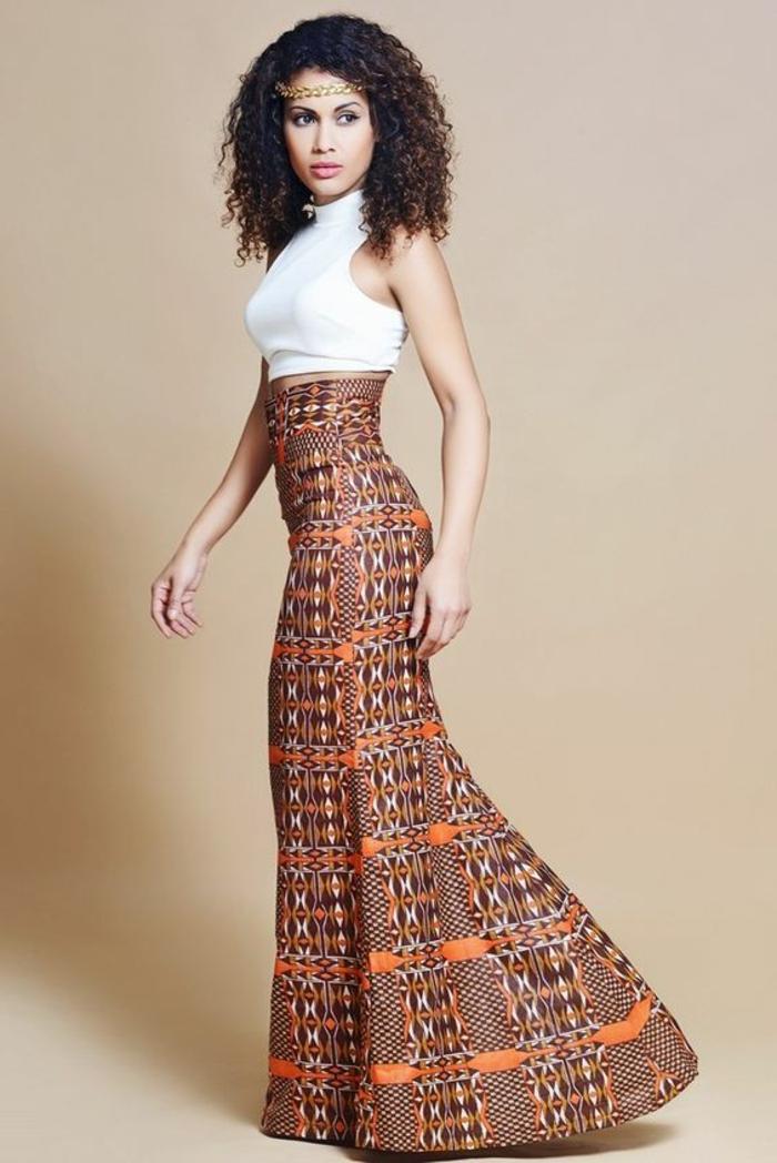 larga falda en colores cálidos y estampados bonitos, las mejores propuestas de vestidos africanos mujer