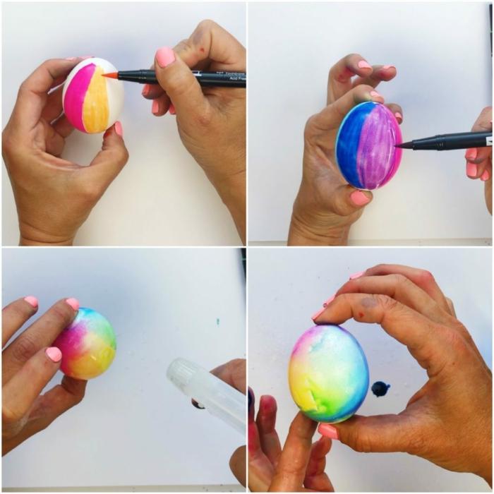 como pintar un huevo de Pascua con marcadores en colores, ideas originales de decoracion casera Pascua