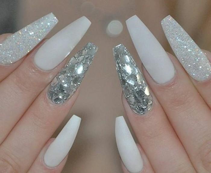 arte de uñas con cristales y piedras, uñas acrilicas 2017, preciosos diseños de uñas largas