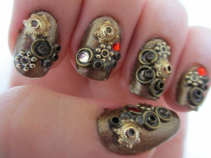 diseños extravagantes de uñas decoradas con detalles decorativos, uñas acrilicas 2017 en imagines