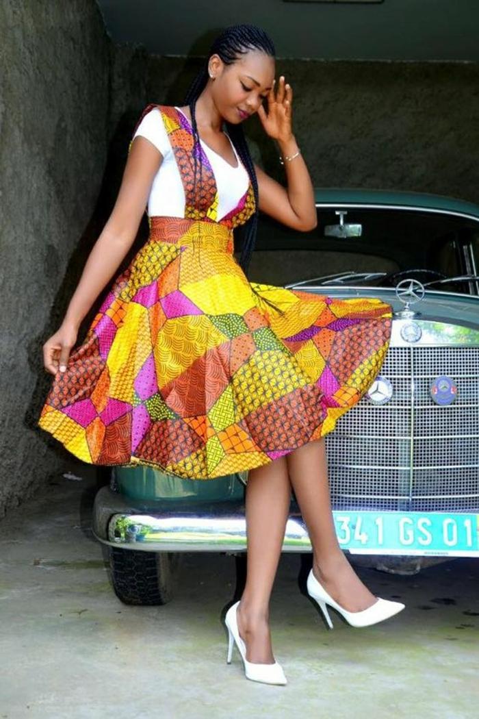 falda colorida en colores llamativos, vestido africano original de corte atractivo, vestidos africanos mujer