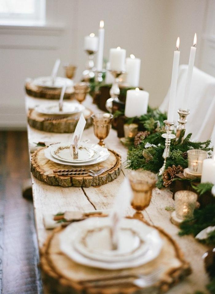 preciosas ideas sobre cómo decorar la mesa en estilo rústico, decoracion mesas navidad