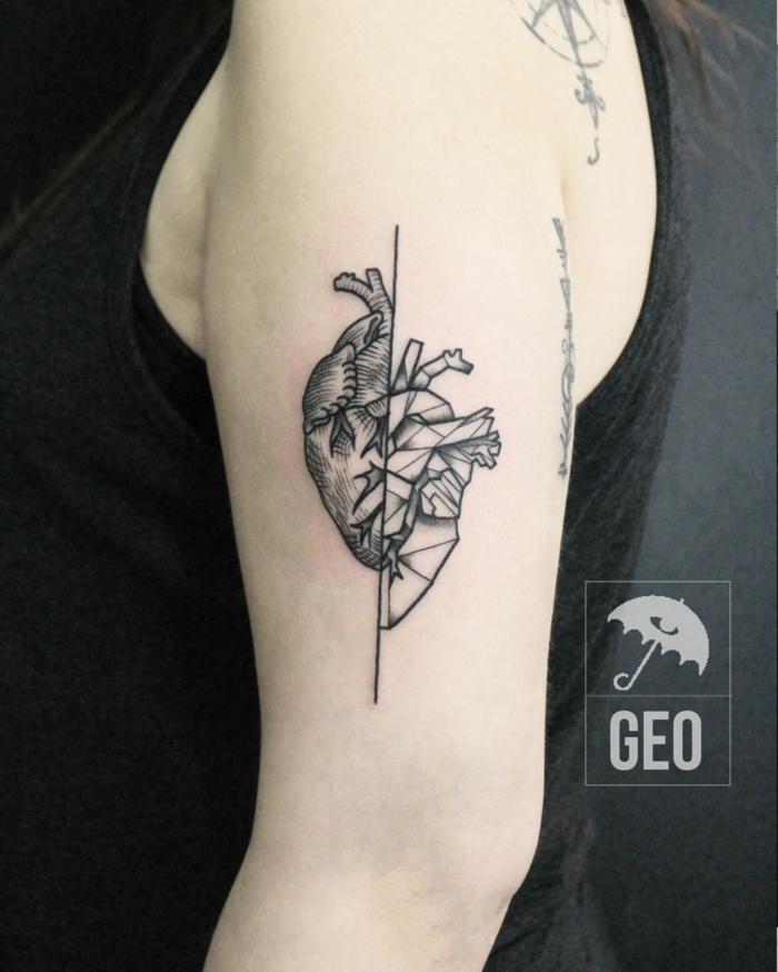 últimas tendencias en los diseños de tatuajes, tattoo corazón original, diseño de tatuaje geométrico
