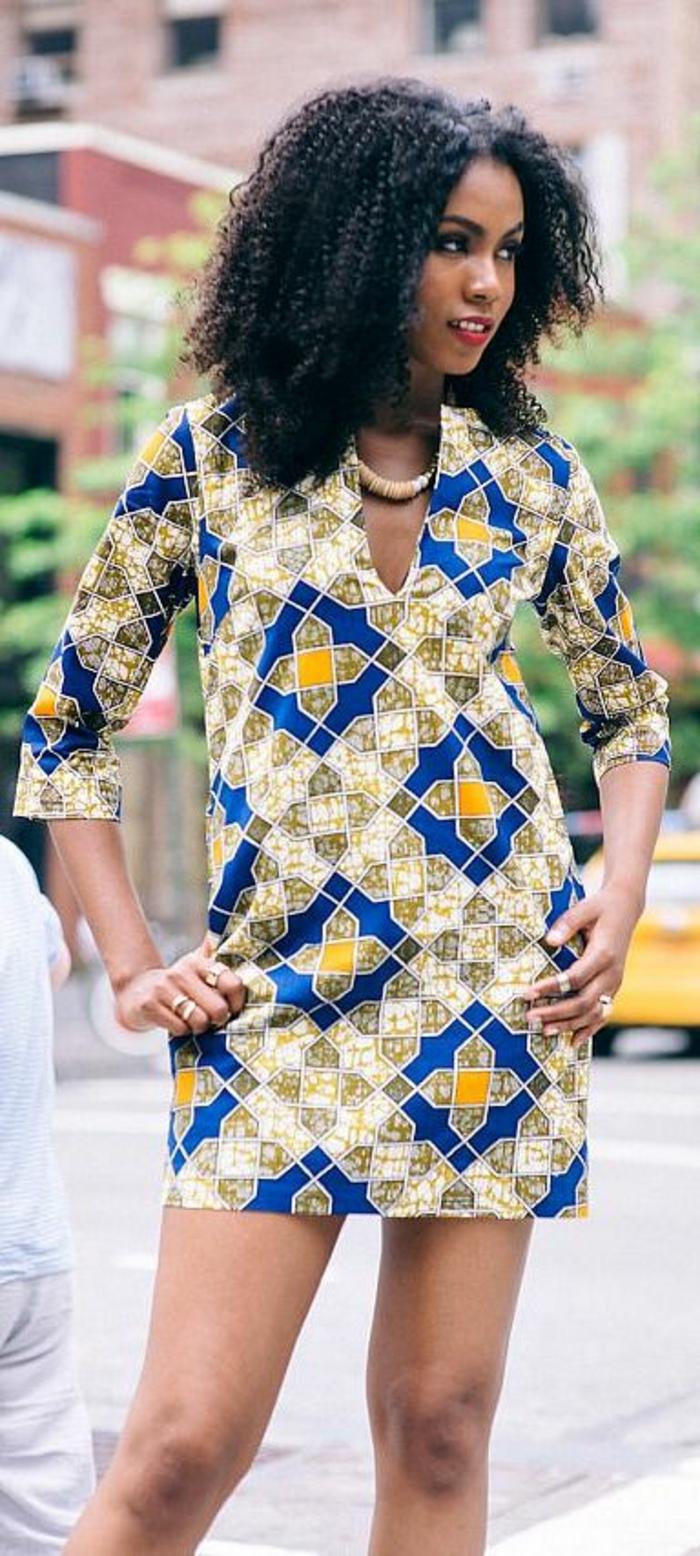 vestidos africanos mujer, vestido corto con estampados coloridos geométricos, vestido mangas largas mujer