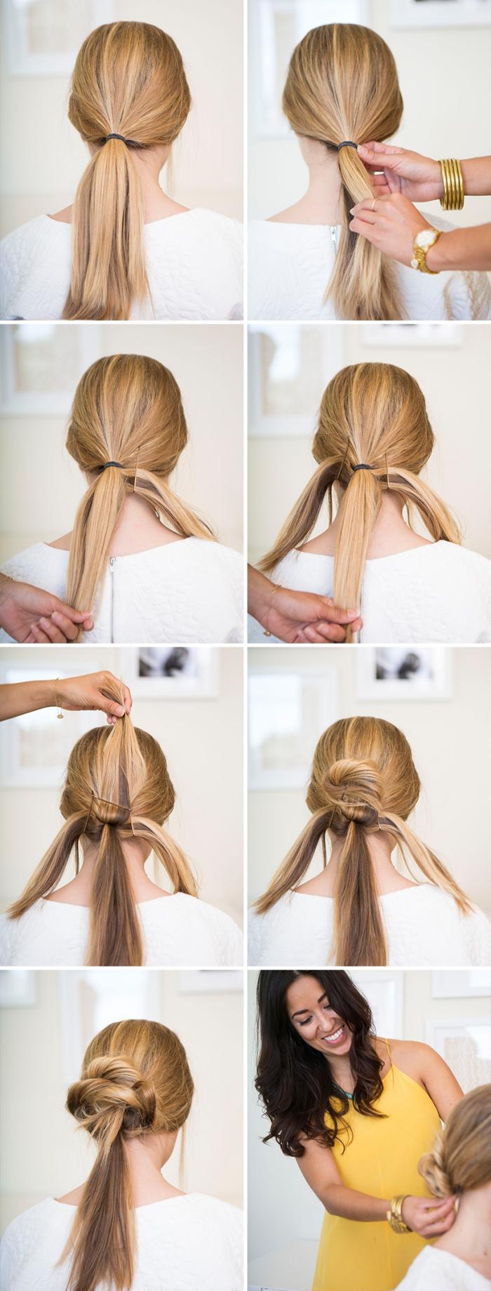 las mejores ideas de peinados bonitos pelo largo, cómo hacer un moño trenzado paso a paso