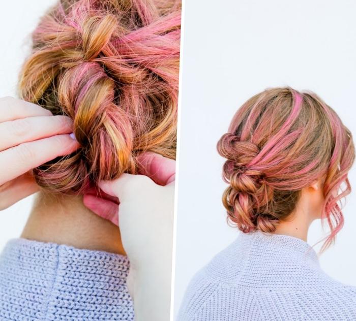 ideas de peinados con trenzas, cómo hacer un moño trenzado paso a paso, ideas para cabello largo