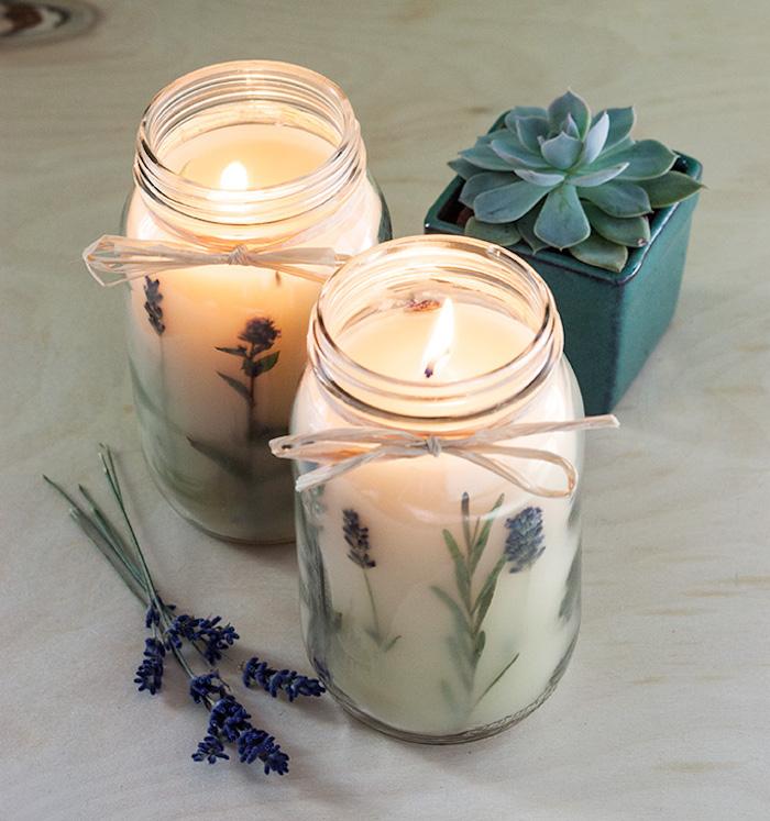 fotos de regalos caseros, velas aromáticas con aroma a lavanda, ideas de regalos para Navidad en fotos con tutoriales