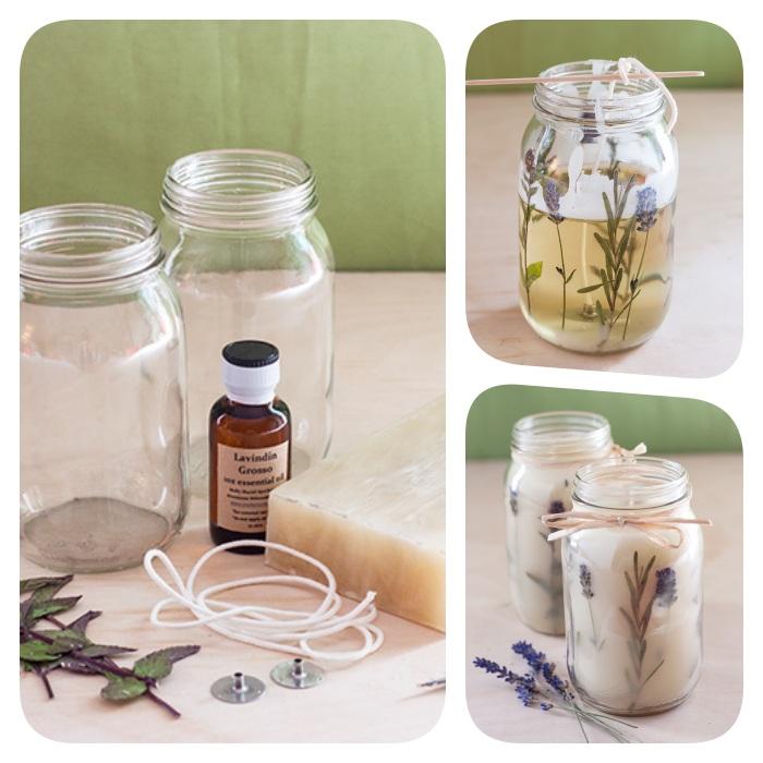 como hacer velas aromáticas caseras paso a paso, frascos DIY con velas aromáticas, fotos de tutoriales de manualidades