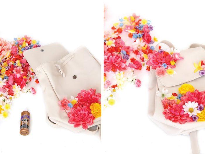 regalos originales hechos a mano paso a paso, bolso decorado con flores en diferentes colores
