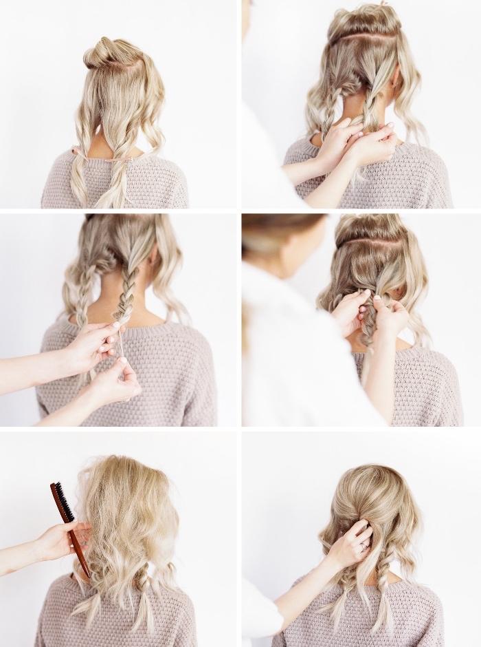 collage de fotos con peinados con trenzas paso a paso, cabello largo trenzado recogido en moño