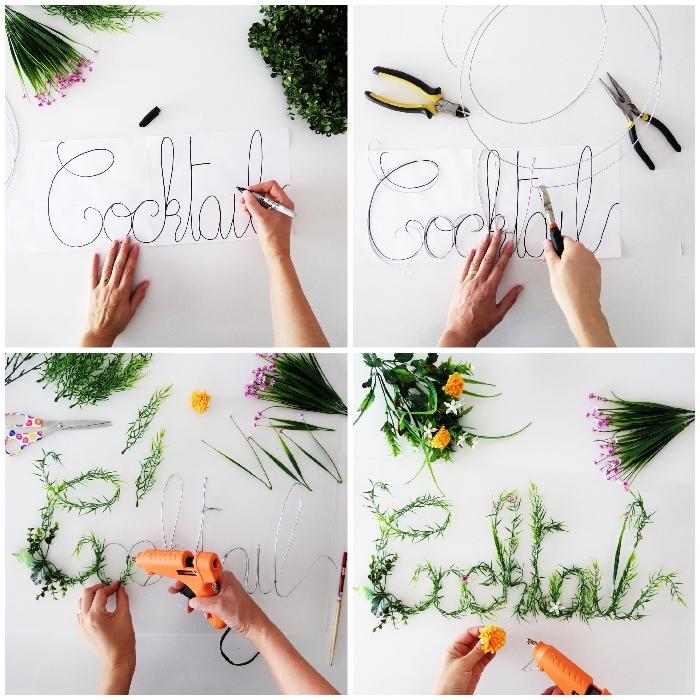 tutoriales de manualidades originales para decorar la casa, paredes decoradas con motivos florales
