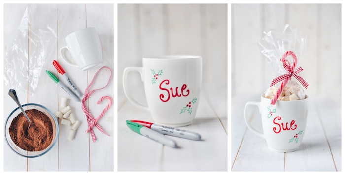ejemplos inspiradores de regalos temáticos para regalar para navidad, taza llena de dulces decorada de una manera encantadora