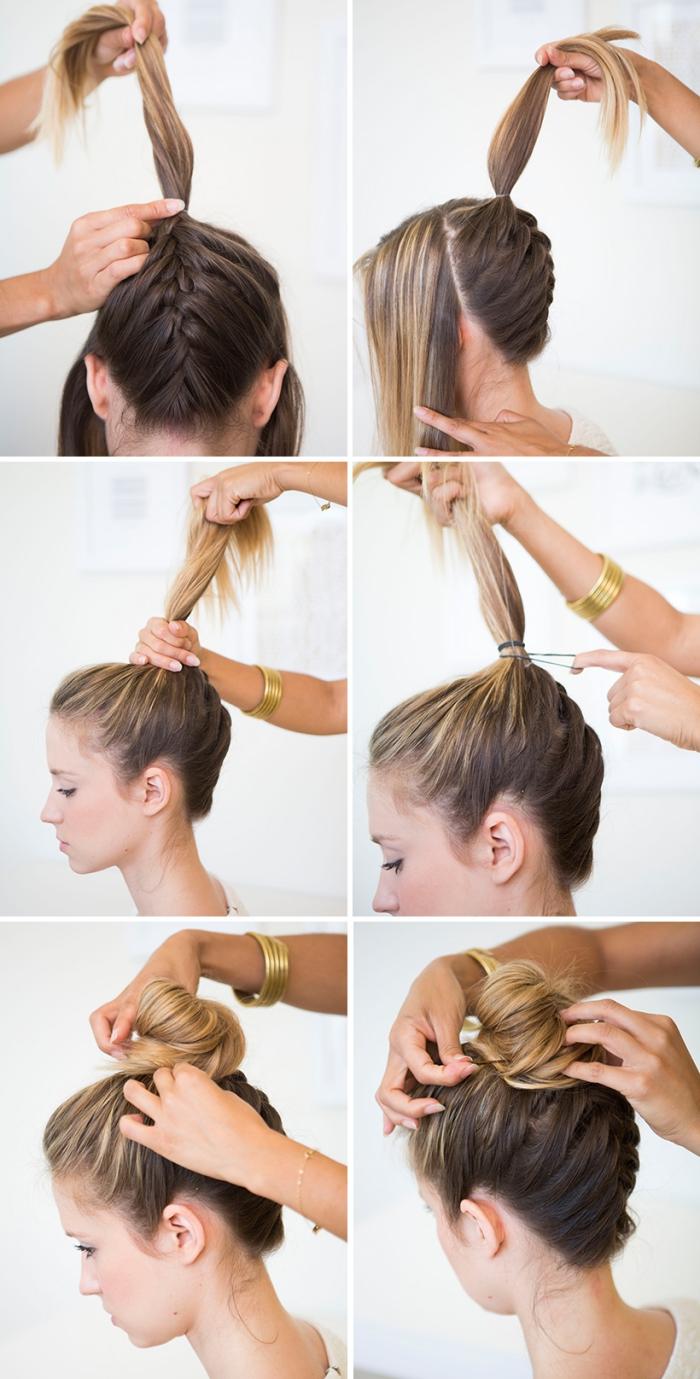 tutoriales para hacer peinados de fiestas fáciles y originales, cabello trenzado recogido con bollo