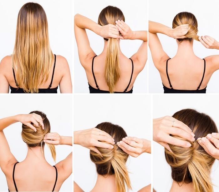 cómo hacer un moño original paso a paso, peinados faciles para niñas en imagines, cabello largo recogido