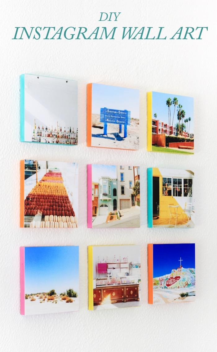 galería de imagines, muro de cuadros con fotografías en el formato de Instagram, originales propuestas decoracion de pared