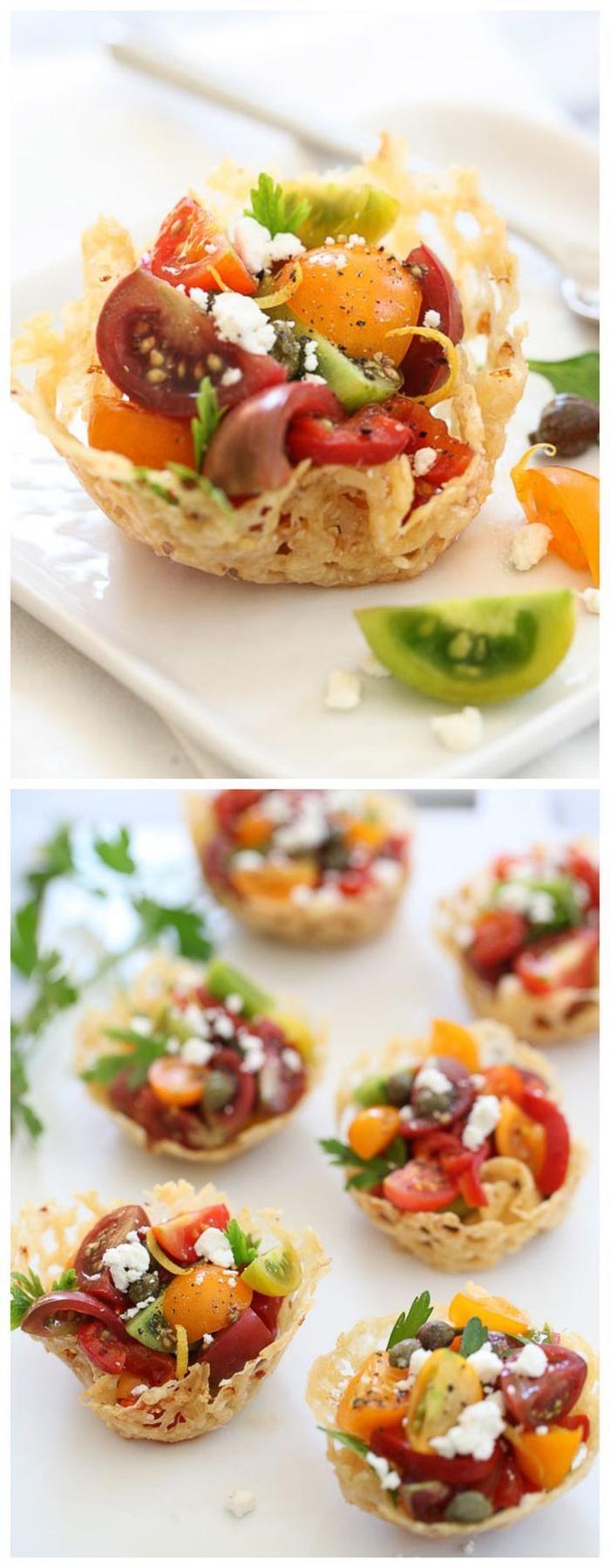 tartaletas saladas con verduras y queso, ideas de entrantes para sorprender a tus invitados, aperitivos vegetarianos