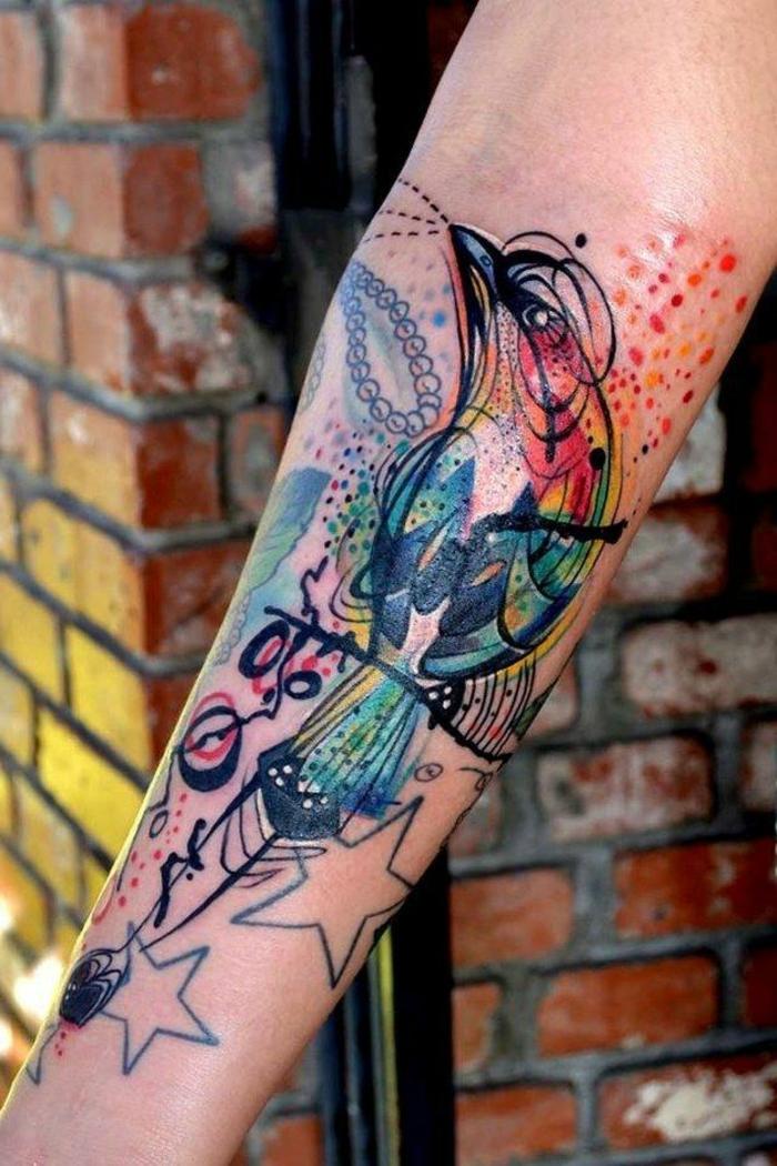 coloridos ejemplos de tatuajes acuarela para hombres y mujeres, tatuajes con animales con significado