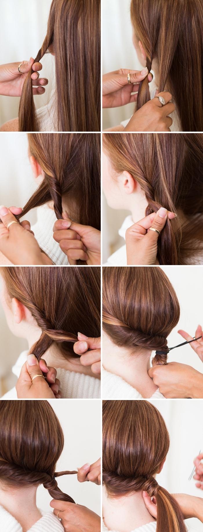 pasos para hacer peinados pelo largo, peinados cabello largo, recogidos bajos fáciles y originales